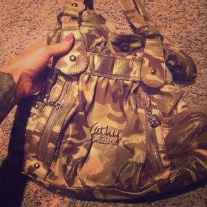 Super cute, shimmery gold camouflage shoulder bag!